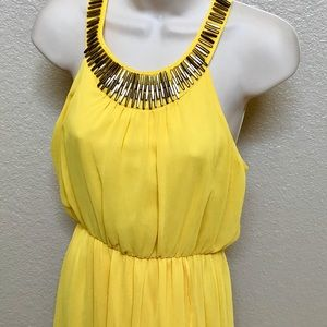 Thalia Sodi Yellow high low beautiful dress